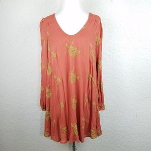 Free People Women Dress M Embroidered Floral Open